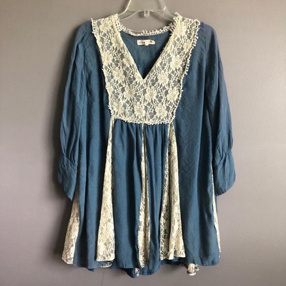 Altar'd State Dresses & Skirts - Altar'd State • Blue Lace Long Sleeve Dress